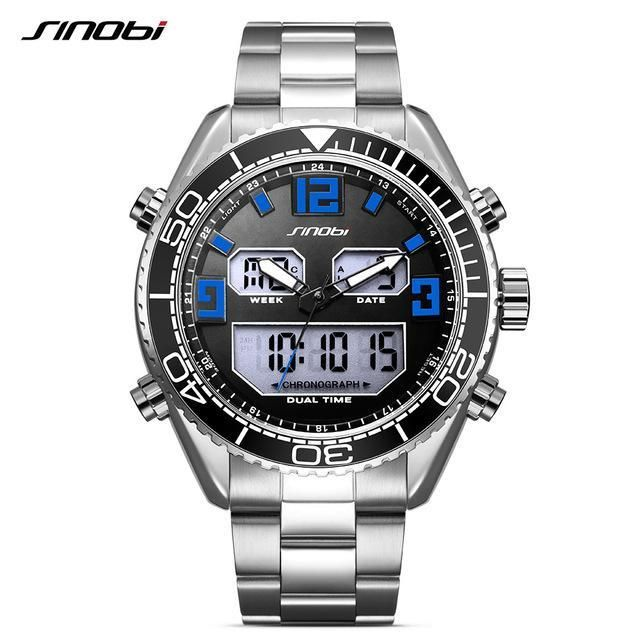 SINOBI Men's Analog Digital Steel Quartz Watch Waterproof 24 Hour Date Wrist Watch Fashion Sports
