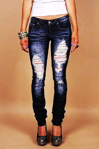 Skinny Dark Blue Jeans - Ripped Dark Blue Jeans - LoveItSoMuch.com ...