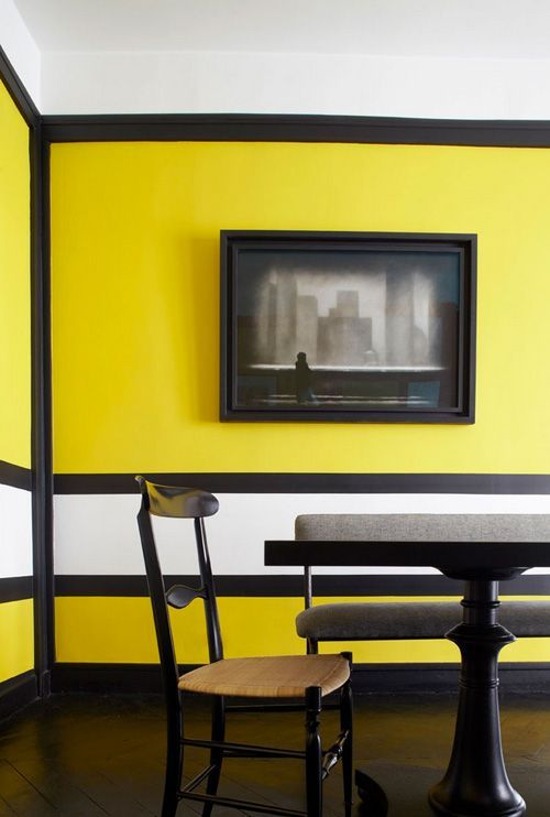 Yellow,black #white #wall #interior | Wall Paint Design Ideas ...