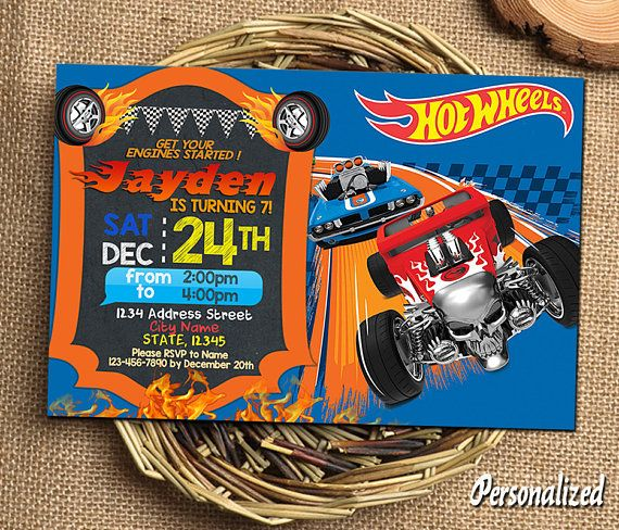 Hot Wheels Invitation Hot Wheels Birthday Hot Wheels