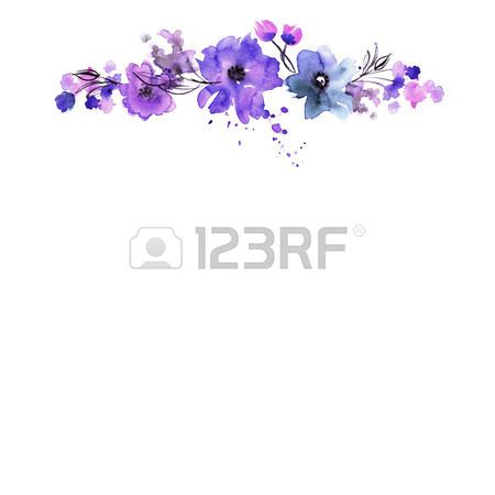Purple Flower Cute Watercolor Hand Painted Flower Frame