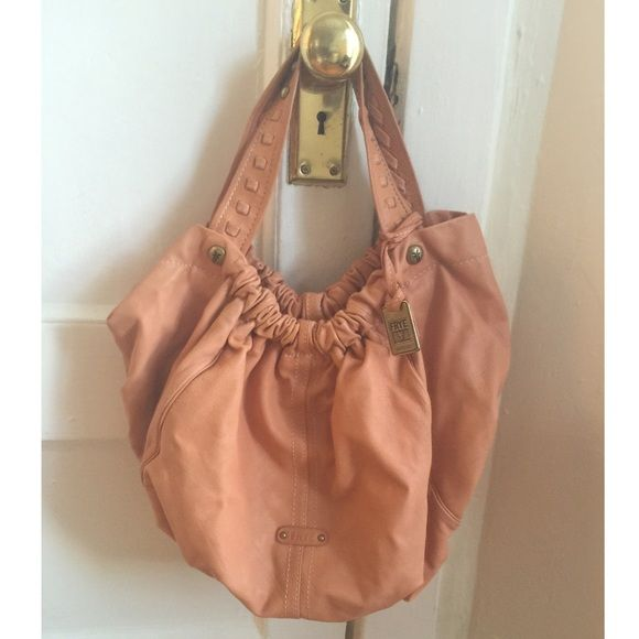 FRYE LARGE HOBO HANDBAG In great condition clean inside and out, no damage or wear , note :small discoloration on inside of strap its uunnoticible because  it faces inside not out .  Very spacious , large bag can fit small / medium books and small laptop. Love this bag but it not being used and needs a new home. Color: as shown in pictures, 100% Italian leather. Comes with dust bag. Frye Bags Hobos