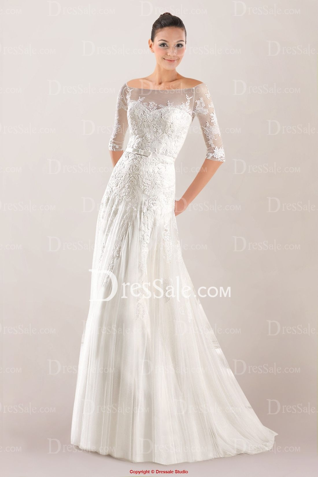 Ethereal Off-the-shoulder Tulle Wedding Dress Highlighted with Lace ...