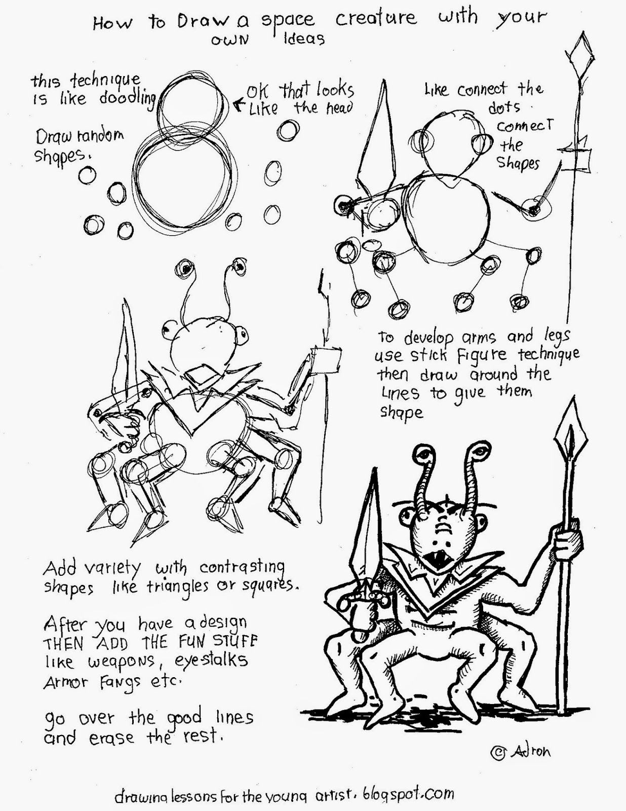 How To Draw A Space Creature With Your Own Ideas
