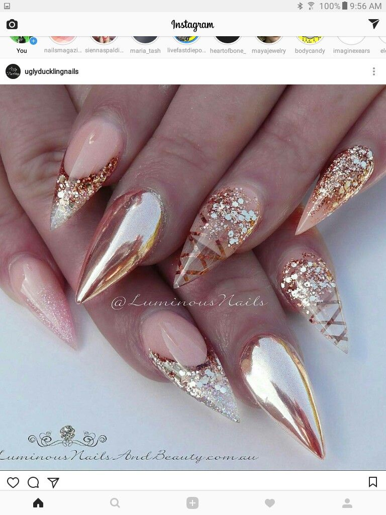 Pin By Teresa On Nailaholic Gold Nails Luminous Nails Rose