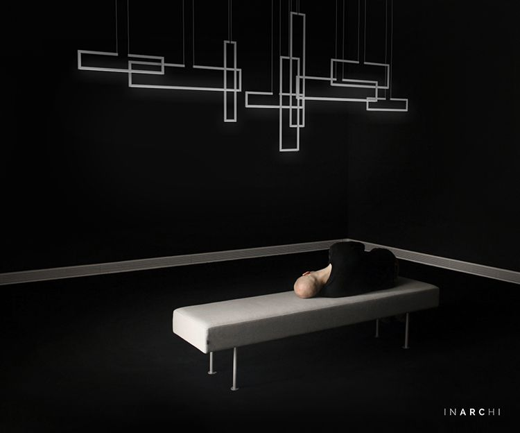 lighting frames. FRAME Suspended, Open Aluminium Frames With High-performance LED Lights. Photo By Andras Lighting