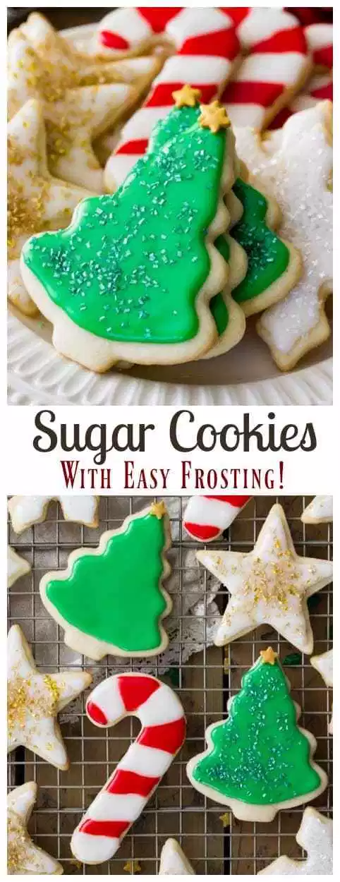 This is the BEST SUGAR COOKIE RECIPE with an easy sugar cookie frosting! The perfect Christmas cookie, these homemade sugar cookies are easy and have a great simple icing. You've never tried a better cut-out sugar cookie! #sugarspunrun #christmascookie #sugarcookie