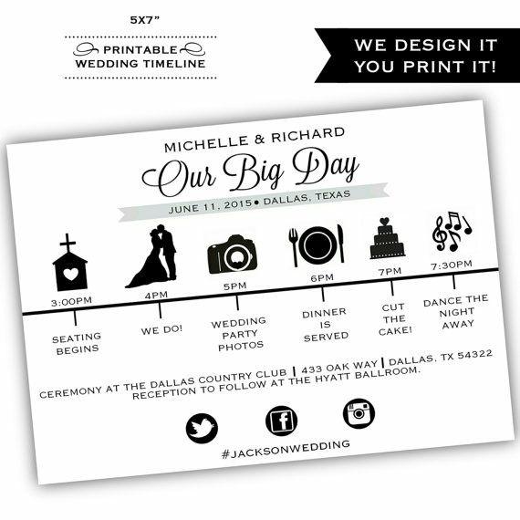 Printable Wedding Itinerary Printable Wedding Program Wedding