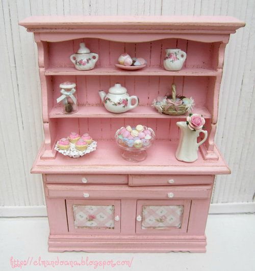 Mueble para vajilla tetera jarrones etc cuadro miniatura pinterest teteras vajillas y - Muebles para vajilla ...