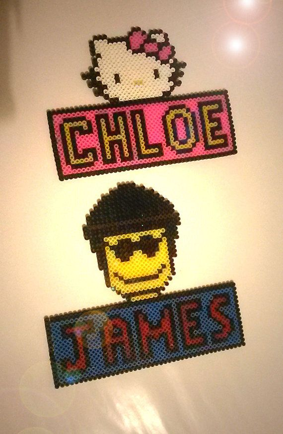 Bedroom Door Name Plaques hama beads by HamaCreationsByPiggy