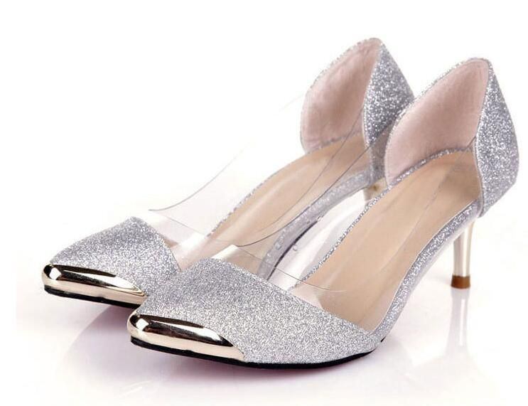 cf6b3b3196 Autumn Women Shoes High Heels Metal Head Pointed Sexy Women Pumps party Wedding  shoes For Women