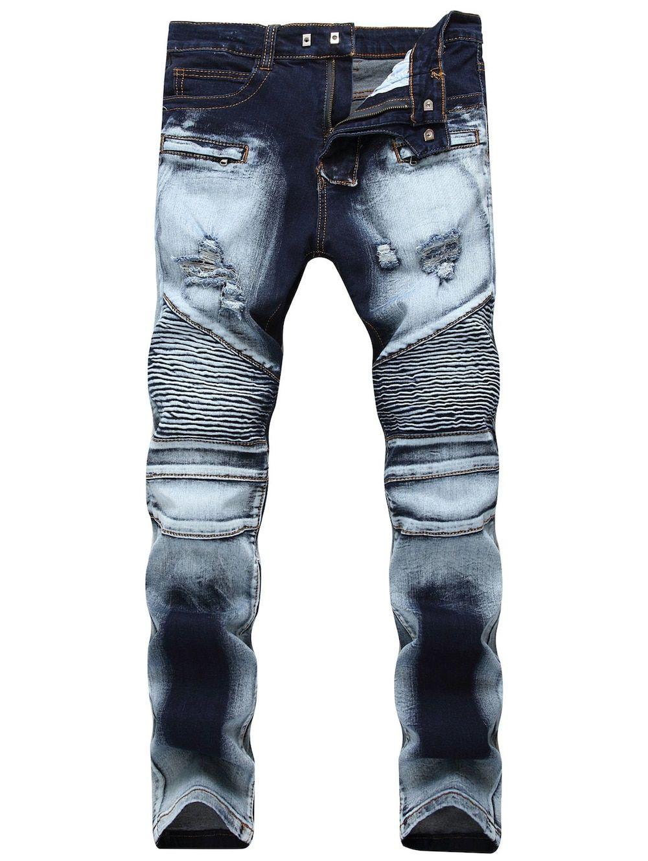 Mens Designer Acid Wash Distressed Ripped Stretch Slim Fit Denim Jeans Trouser