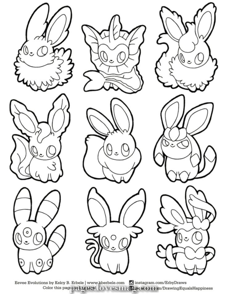 Great Coloring Pages Of Pokemon Evolutions Of Eevee Sylveon Via