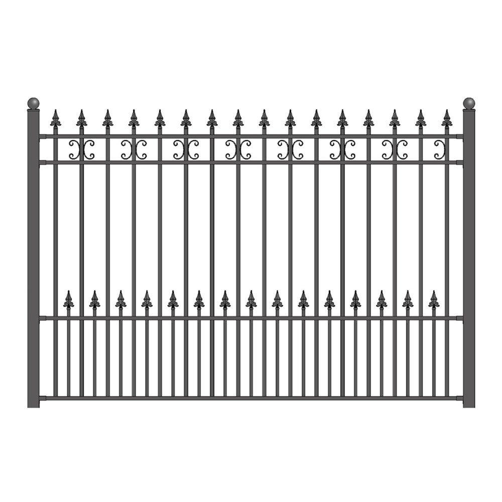 Aleko Iron Wrought Yard Garden Privacy Fence Panel 8 X5 Black St Petersburg Black In 2020 Steel Fence Wrought Iron Fences Steel Fence Panels