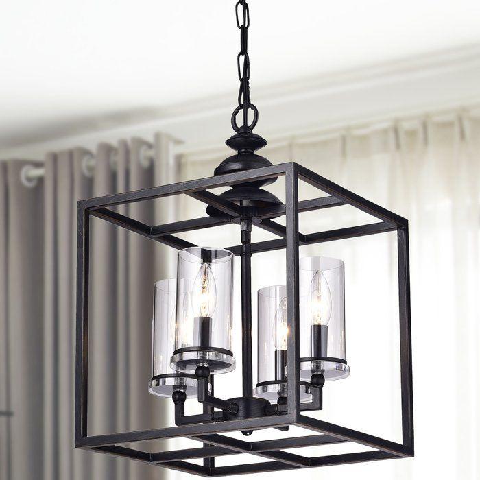 Didmarton 4 Light Shaded Rectangle Square Chandelier Lantern