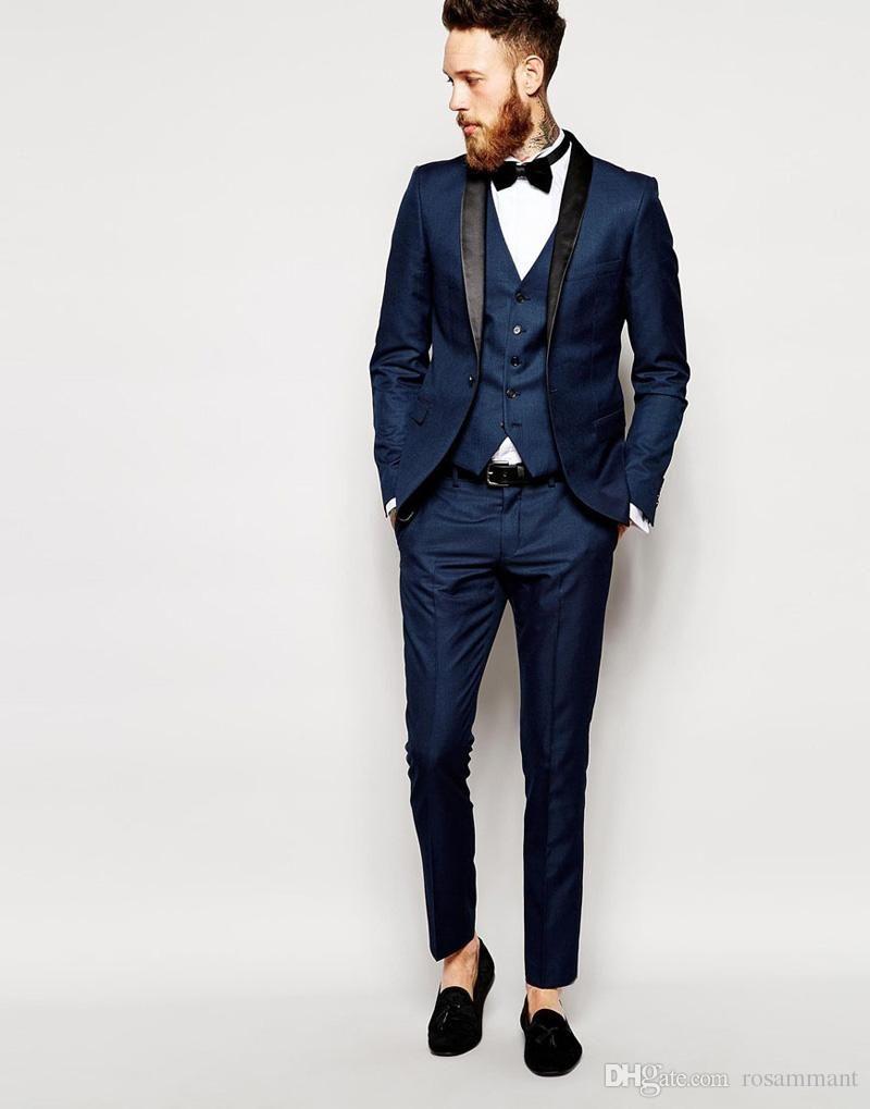 b96561d6fa9 Side Vent Slim Fit Groom Tuxedos Shawl Collar Men s Suit Navy Blue Groomsman  Bridegroom Wedding Prom Suits (Jacket+Pants+Tie+vest)