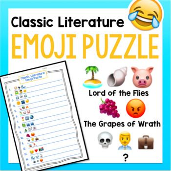 This Fun Activity Presents A Set Of Emoji Clues To Guess The Titles Of Fifteen Classic Works Of Lite Emoji Puzzle Classic Literature Teaching Critical Thinking