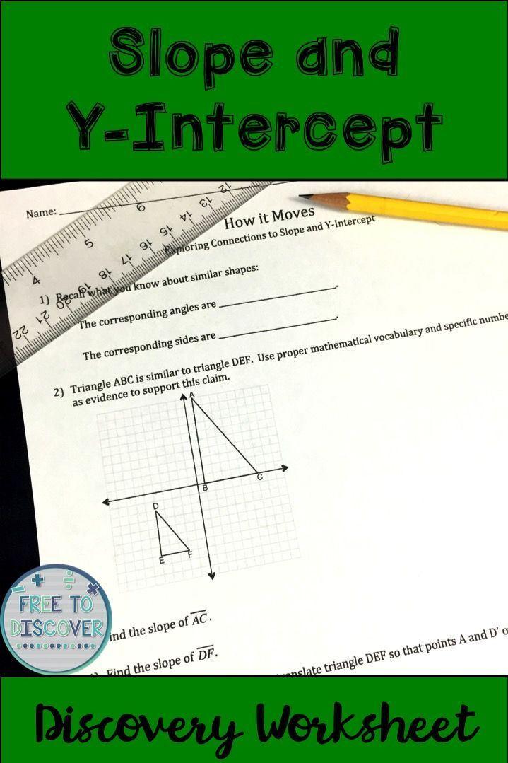 Slope and Y-Intercept Discovery Worksheet | Expressions & Equations ...