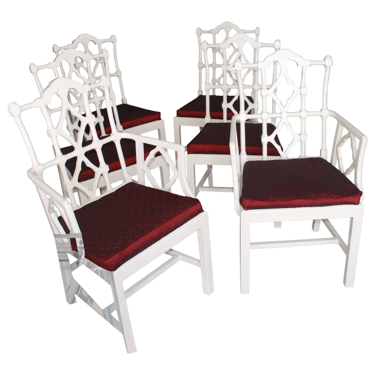 Set Of Six Fretwork Chinese Chippendale Vintage Dining Chairs Palm Interesting Chippendale Dining Room Set Inspiration
