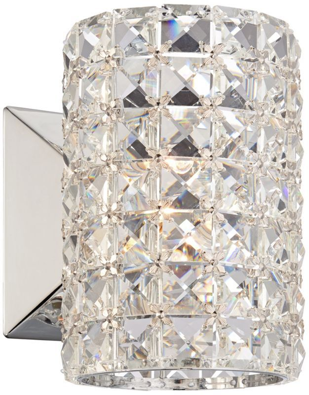 Bathroom Sconces With Bling crystal cylinder halogen vienna full spectrum wall sconce - euro