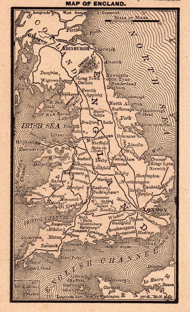Rare Antique England Map 1888 Rare Miniature Vintage Map Of England 3687 England Map Miniature Map Map