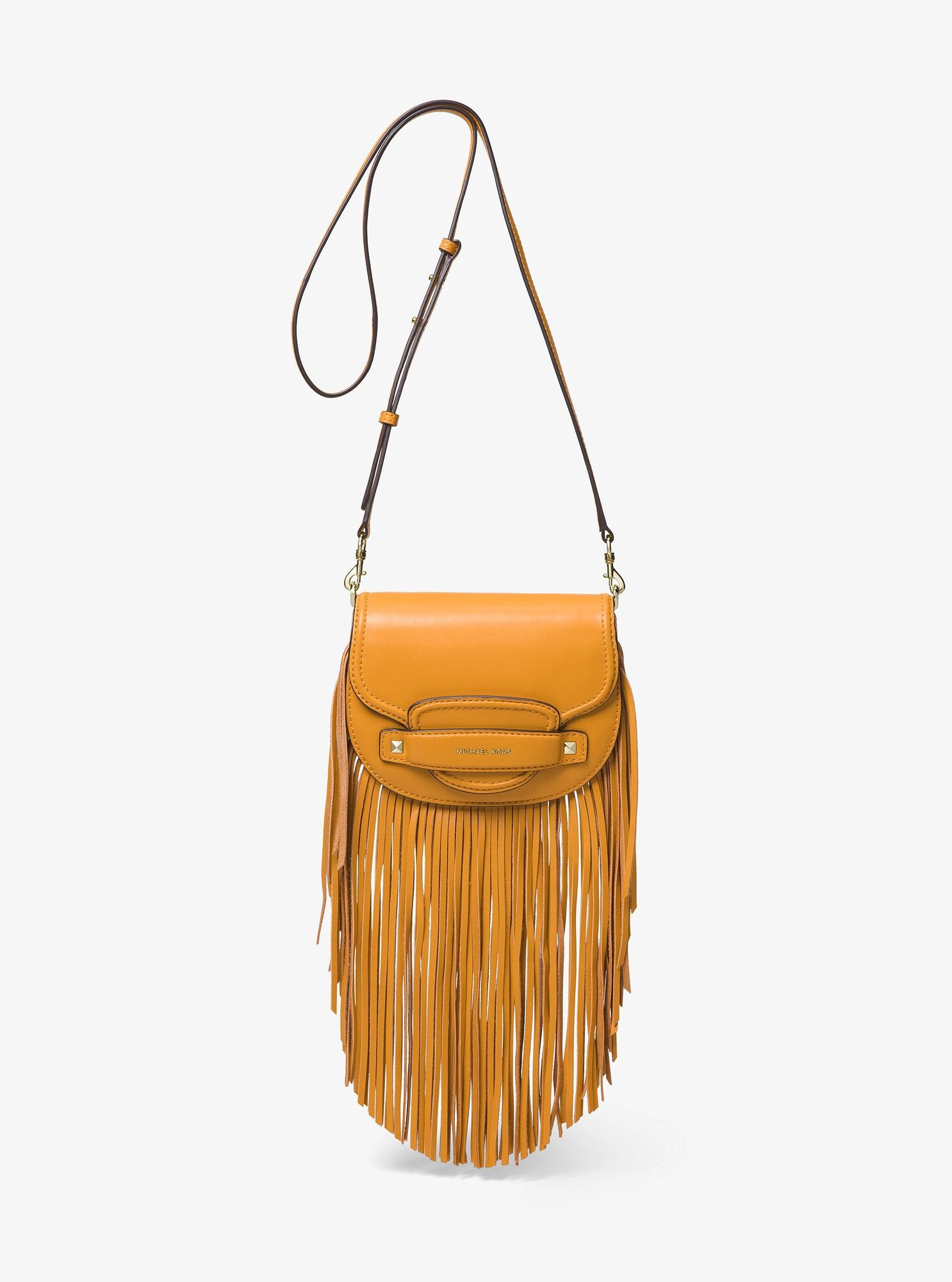 2f0f1d15d014 Michael Kors Cary Small Fringed Leather Saddle Bag - Marigold in ...