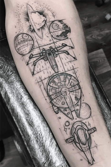 24 Out Of This World Star Wars Tattoos Starwars Tattoos Star Wars Tattoo War Tattoo Tattoos