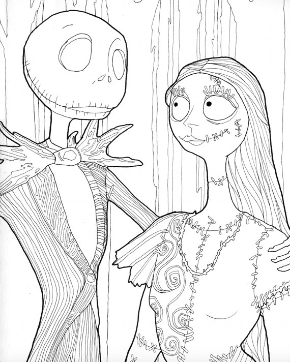 Digital Download Jack And Sally Halloween Coloring Page Downloadable Halloween Coloring For Adults Jack Skellington Themed Coloring Page Halloween Coloring Pages Halloween Coloring Coloring Pages