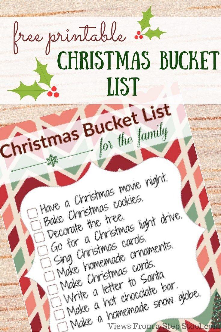 Christmas Bucket List with FREE Printable Free christmas