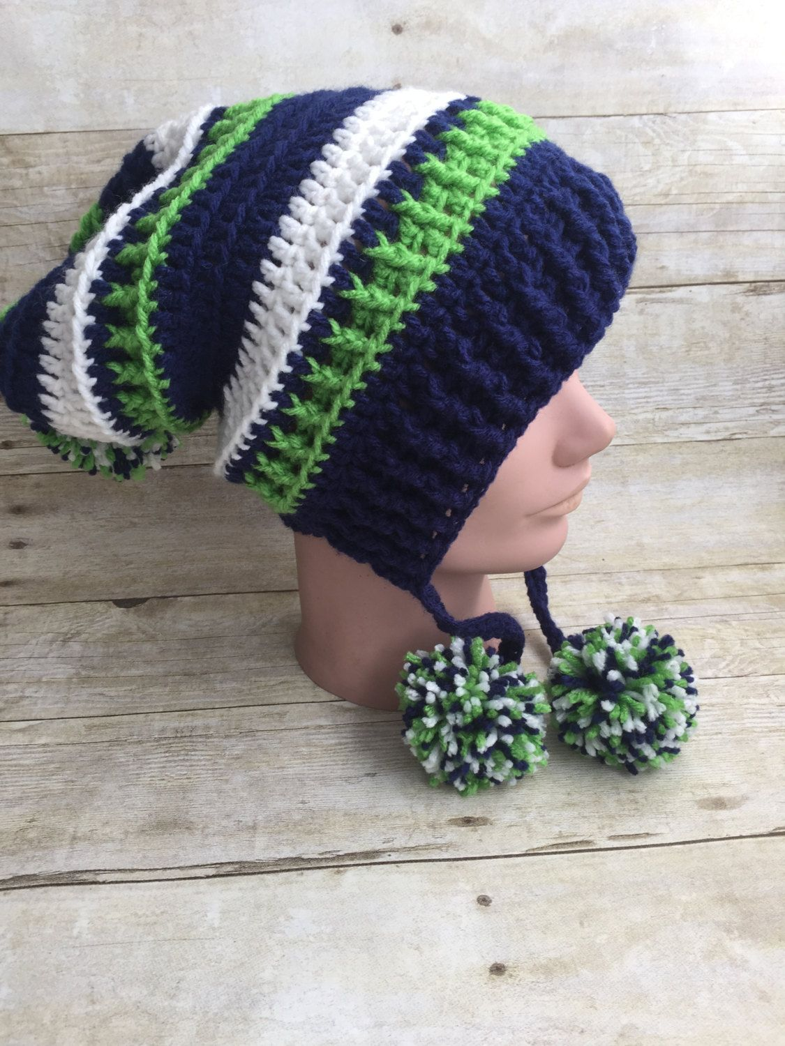 50b608f906f Seattle Seahawks Inspired Slouchy Beanie Hat Cap Blue Green White Pom Poms  Acrylic Winter Ski Snowboard Custom Orders Welcome by kitchenklutter on Etsy