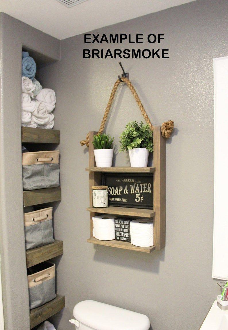 Farmhouse bathroom hanging rope ladder shelf modern etsy