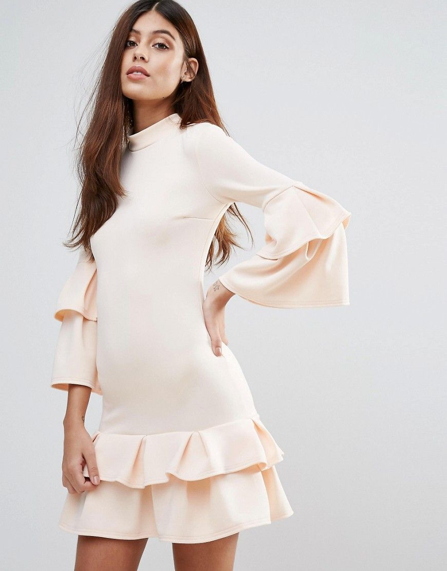 Get this Club L's evening dress now! Click for more details. Worldwide shipping. Club L High Neck Double Ruffle Dress - Beige: Dress by Club L, Smooth stretch fabric, High-cut neck, Layered-ruffle detail, Zip-back fastening, Slim fit - cut close to the body, Machine wash, 95% Polyester, 5% Elastane, Our model wears a UK 8/EU 36/US 4 and is 175cm/5'9 tall. Whether you're staying in or heading out, Club L is your go-to label for that sleep-to-street style. Prep for the party with its bodycon…