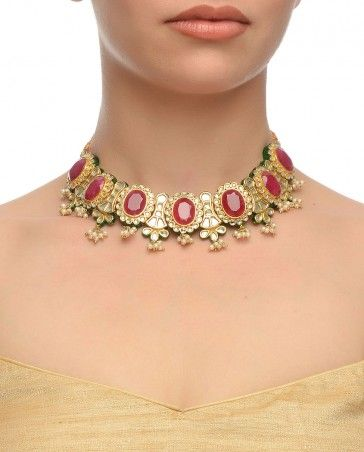 b9ff47e6c3 Kundan Necklace with Pink Stones - Necklaces - Accessories | Indian ...
