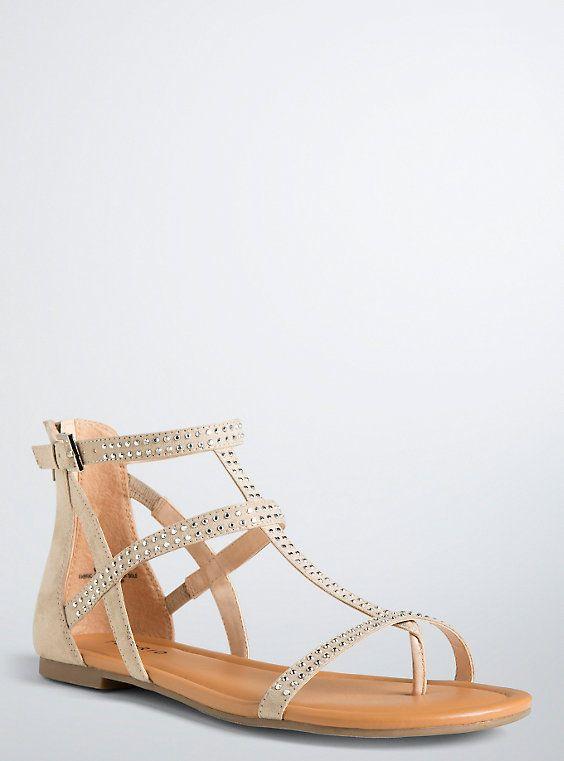 698ebbaab1e5 Plus Size Rhinestone Gladiator Sandals (Wide Width)