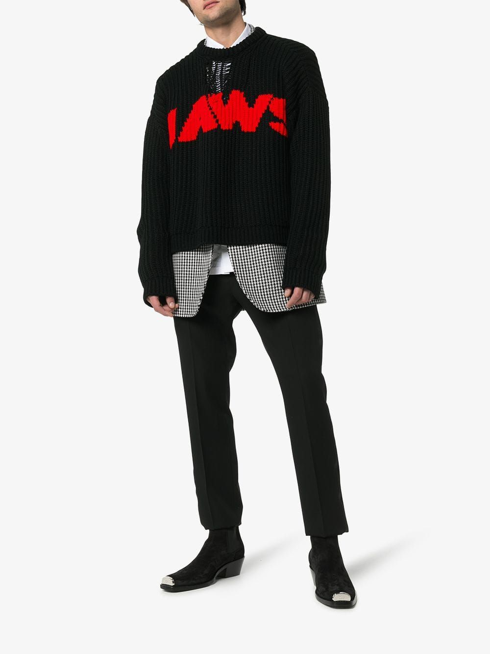 bd40df2bb Jaws print knitted relaxed fit jumper in 2019 | Raf Simons' Calvin ...