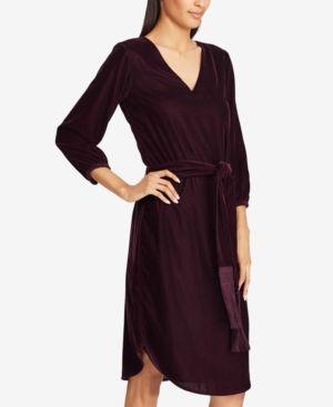 Lauren Ralph Lauren Velvet V-Neck Dress - Aged Malbec 0 in 2018 ... 62532f666