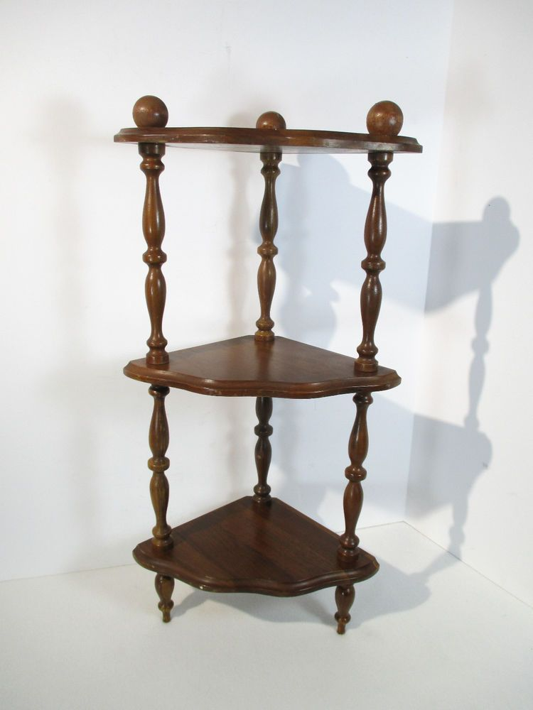 Corner Shelf 3 Tier Tabletop Turned Spindles Scalloped Edge Corner Shelves Table Top Shelves