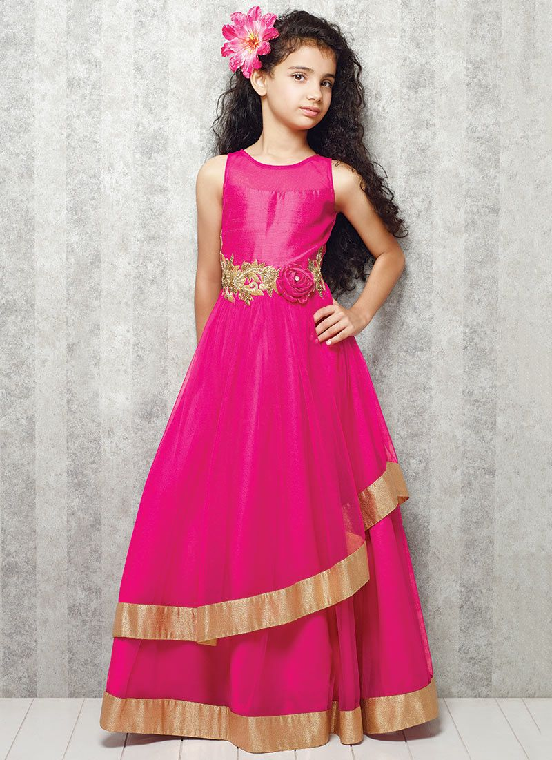 Pink Net Gown Indian Style Gowns Kids Gown Dresses
