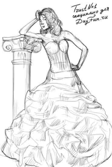 Платье нарисованное простое