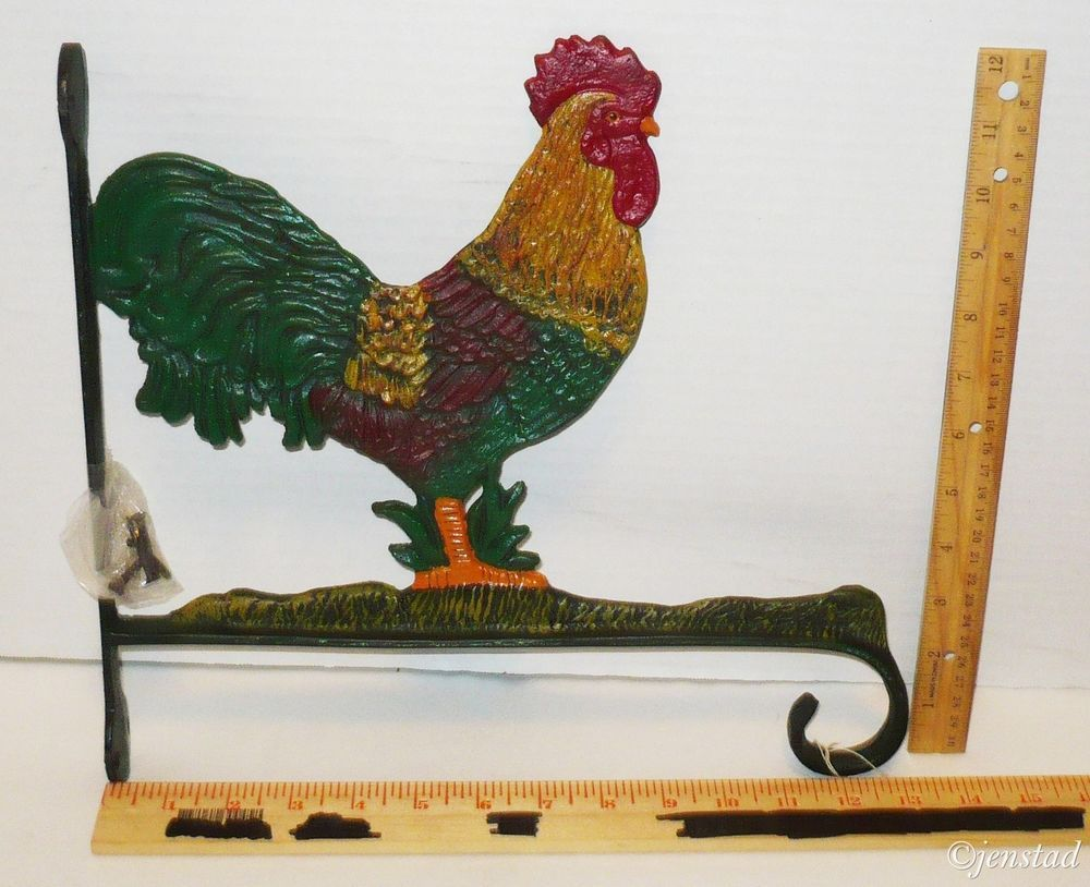 ROOSTER METAL PAINTED INDOOR & OUTDOOR PLANT HANGER HOME DECOR ...