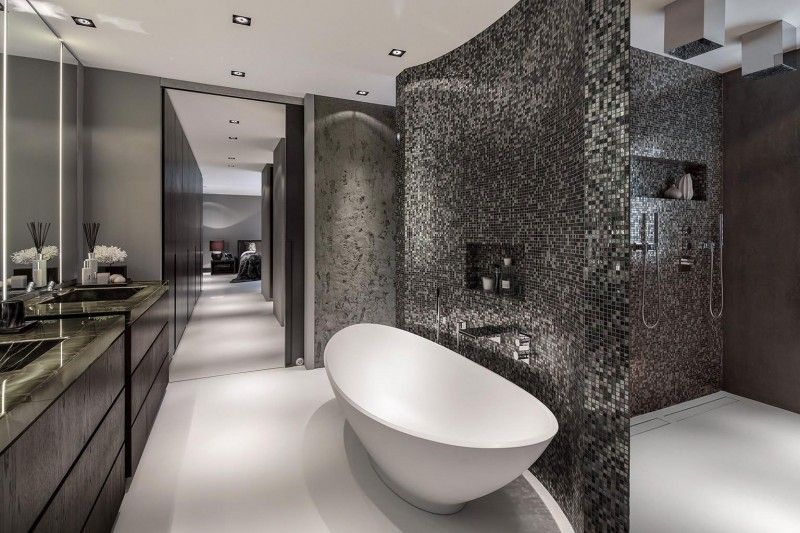 Modern Bathroom Interior Design modern grey bathroom interior design #mosaic #home #bathroom