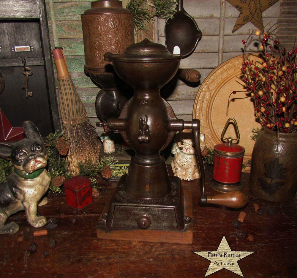 Primitive Antique Vtg Cast Iron Coffee Mill Enterprise Grinder Pat. Oct 21 1873 #NaivePrimitive