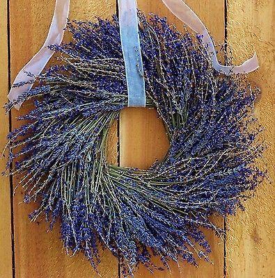 Winter Spring Wreath Floral Primitive Country DRIED LAVENDER DOOR WREATH DECOR