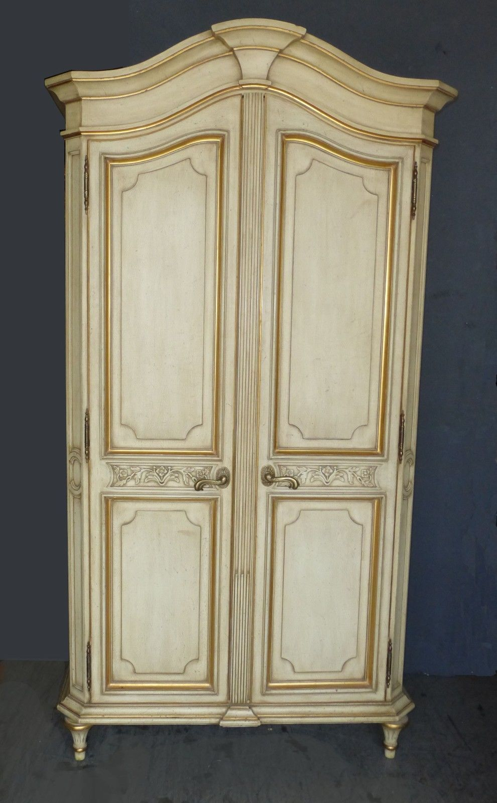 1VTG French Country Provincial Karges Cream Gold Gilt Armoire Wardrobe  Cabinet | EBay