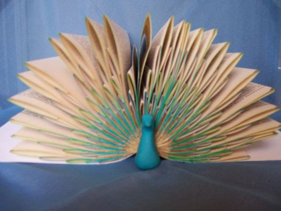 Peacock Folded Pages Book Art -- Origami Sculpture from Recycled/Repurposed/Upcycled Book. $25.00, via Etsy.