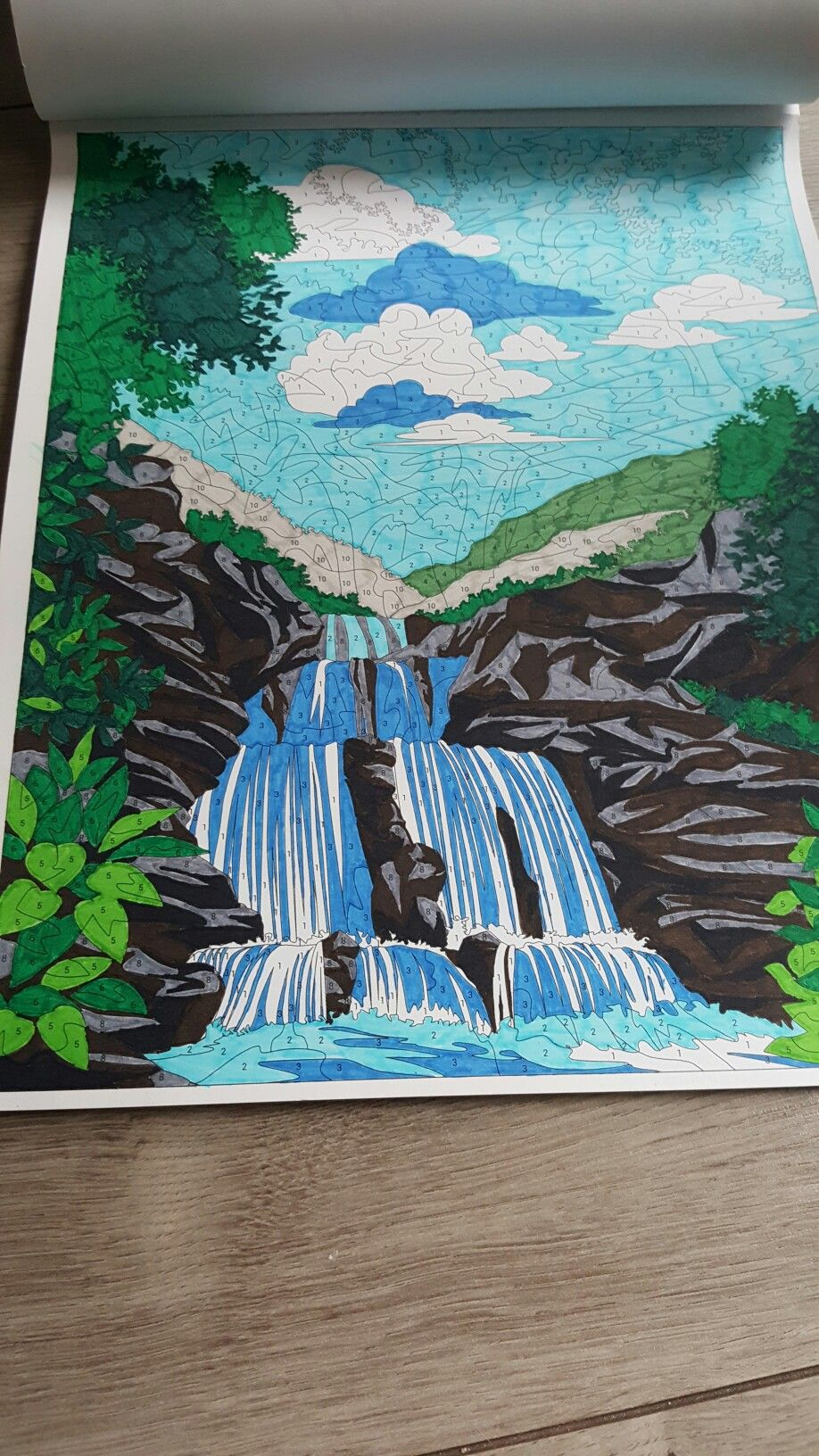 Waterfalls - Color by number | Coloring | Pinterest