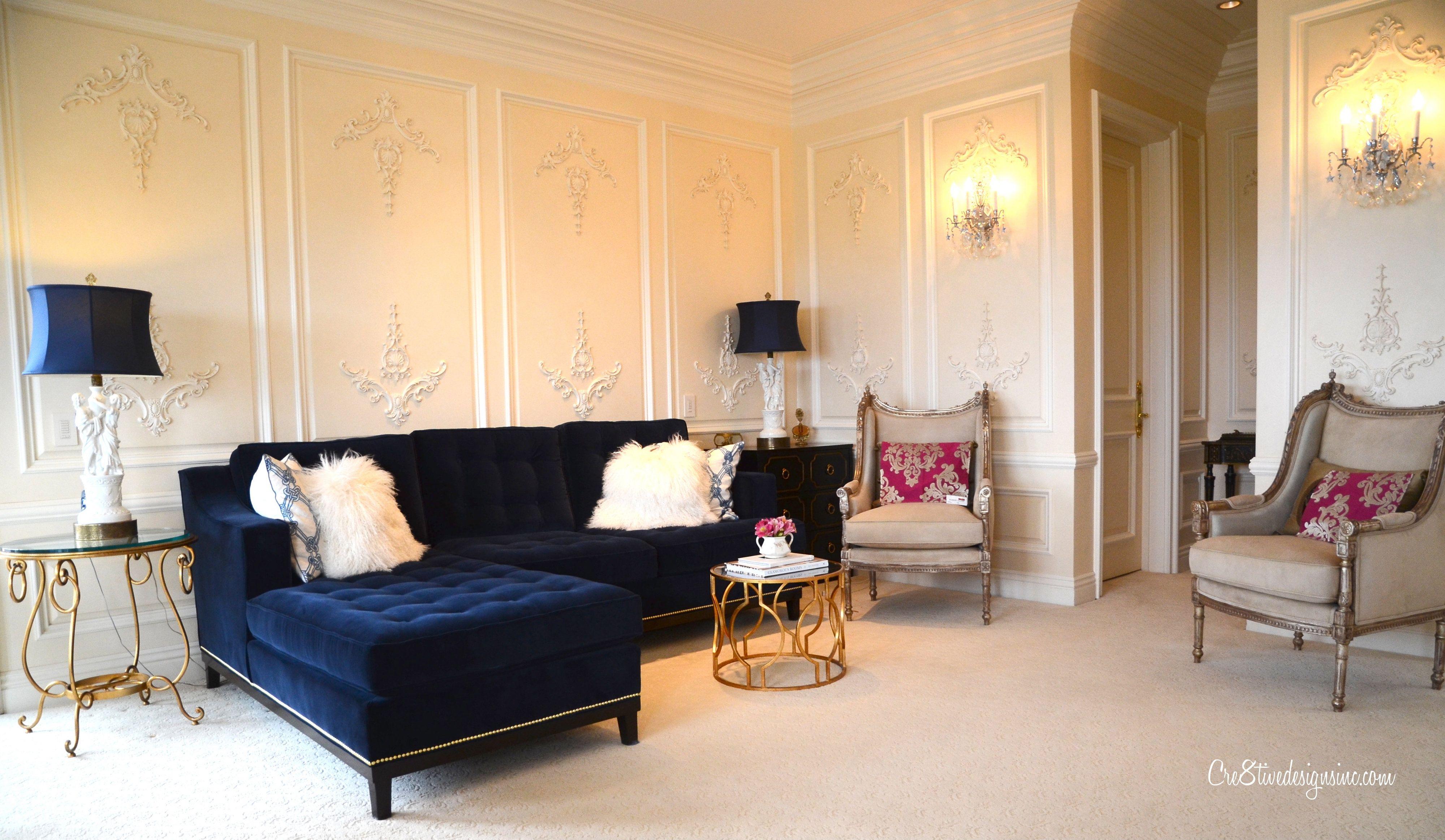 43+ Navy blue tufted living room set information