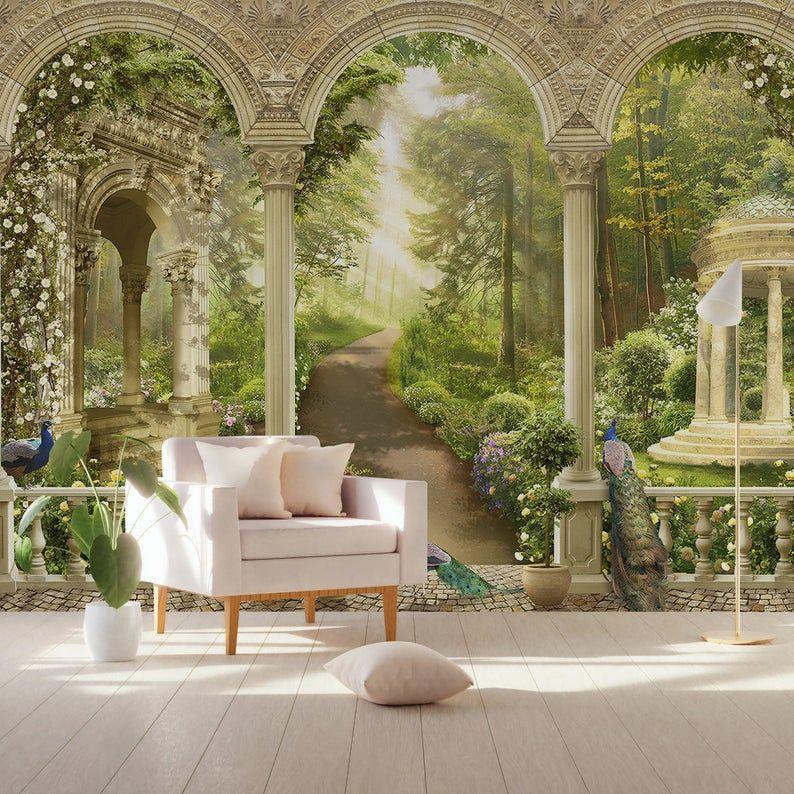 Colonna Wallpaper foresta modo parete murale colonne ...
