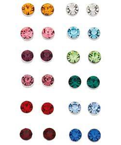 Sterling Silver Crystal Stud Earrings Set Of 12 212 5024
