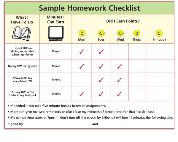 Sample Homework Checklist  Organisation    Homework